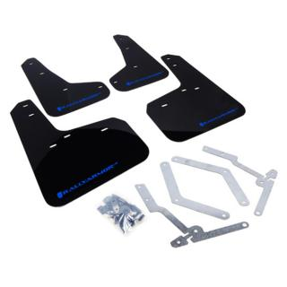 Rally Armor UR Mudflaps Black Urethane Blue Logo Ford Focus ST 2013-2016, Focus RS 2016