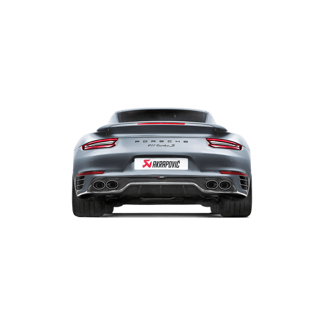 Porsche Akrapovic Slip-On Line (Titanium) Exhaust w/ High Gloss Diffuser 911 991.2 Turbo / Turbo S 2017-2019