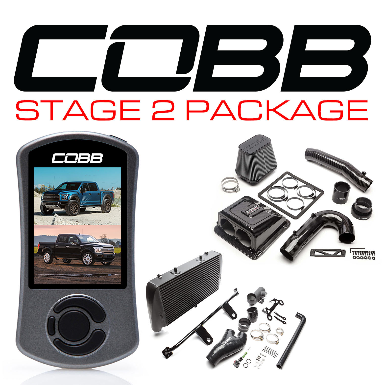 Ford Stage 2 Redline Carbon Fiber Power Package Black with TCM F-150 Raptor 2017-2020