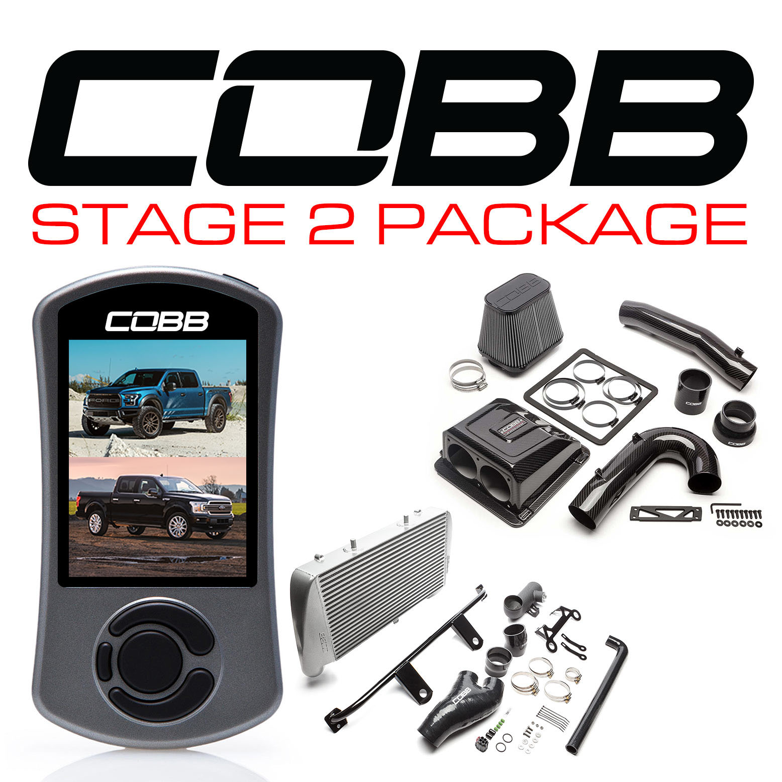 Ford Stage 2 Redline Carbon Fiber Power Package Silver with TCM F-150 Ecoboost Raptor / Limited