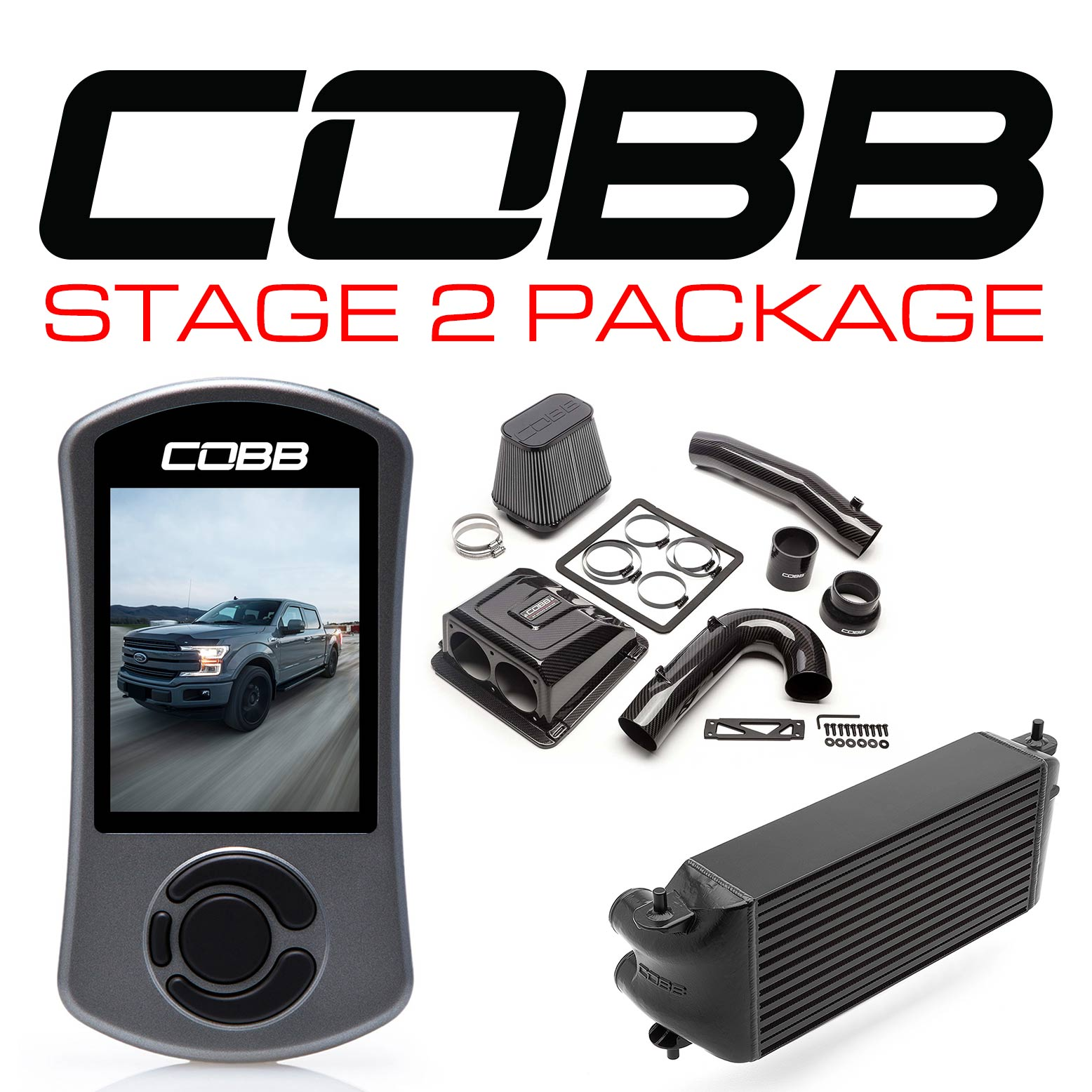 Ford Stage 2 Redline Carbon Fiber Power Package Black (Factory Location Intercooler) with TCM F-150 Ecoboost 3.5L 2017-2019
