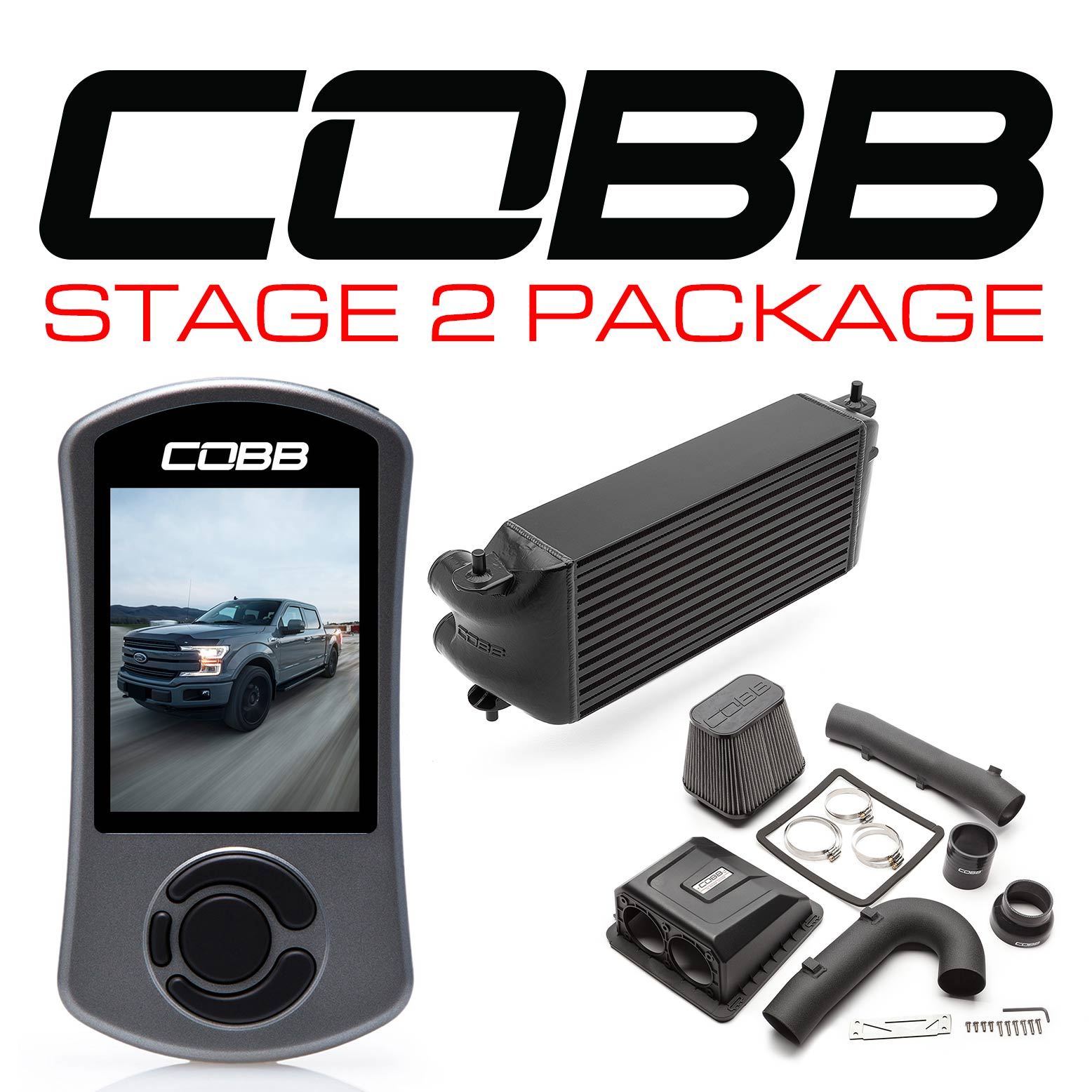 Ford Stage 2 Power Package Black (Factory Location Intercooler) with TCM F-150 Ecoboost 3.5L 2017-2019