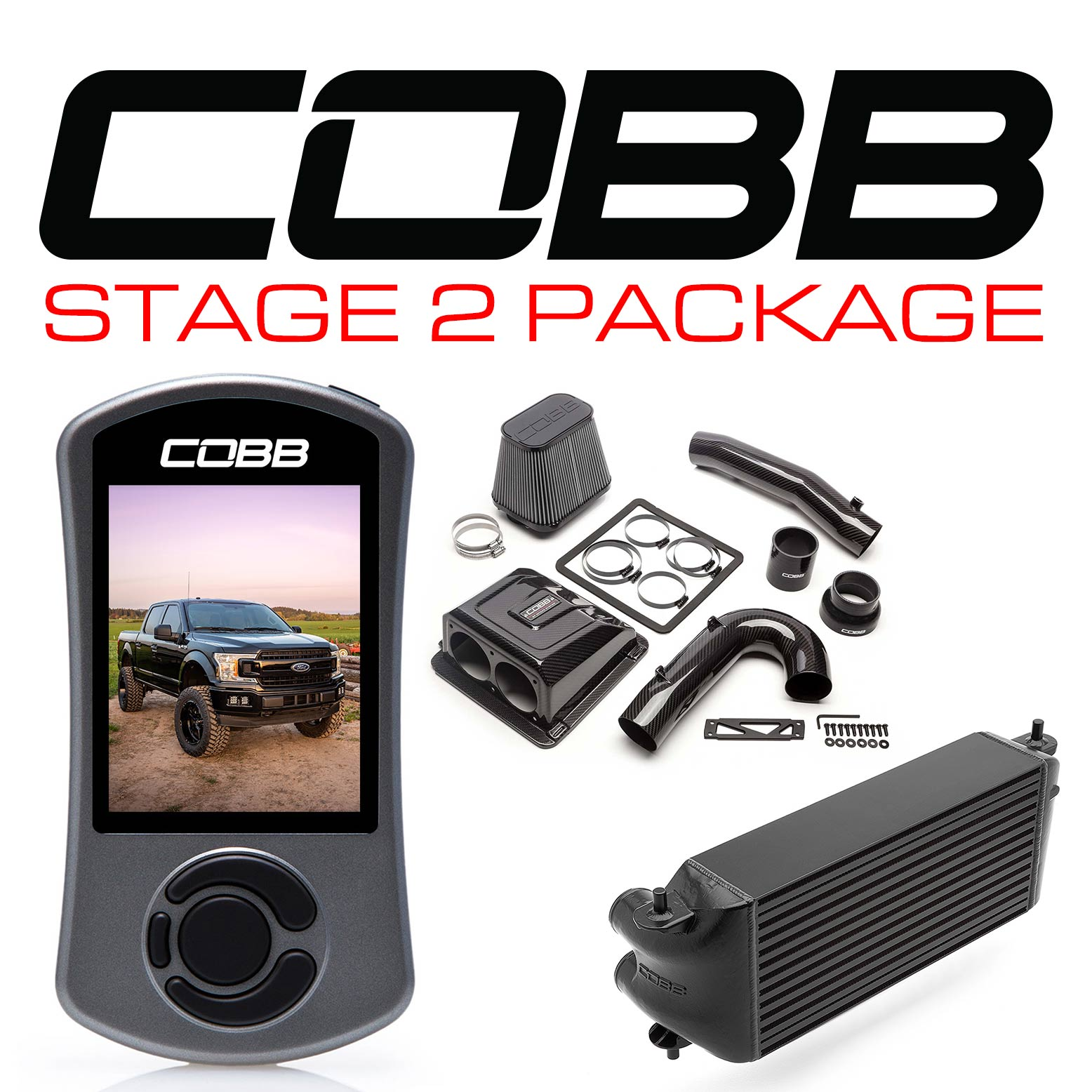 Ford Stage 2 Redline Carbon Fiber Power Package Black (Factory Location Intercooler) F-150 Ecoboost 3.5L 2020