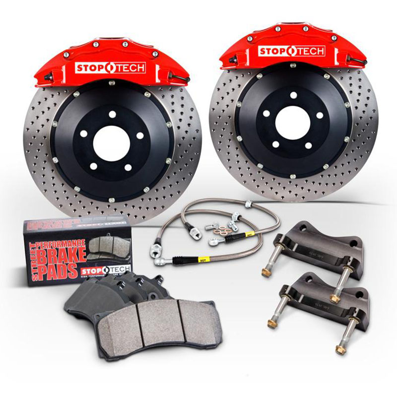 Stoptech ST-22 Big Brake Kit Rear 345mm Red Drilled Rotors Subaru STI 2005-2014