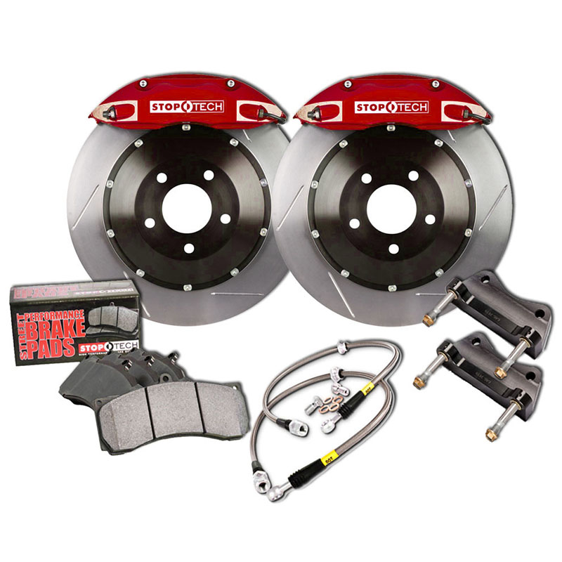 Stoptech ST-40 Big Brake Kit Front 355mm Red Slotted Rotors Subaru STI 2005-2014